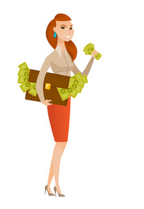 Business woman standing with briefcase full of money and committing economic crime. Business woman stealing money. Economic crime concept. Vector flat design illustration isolated on white background.