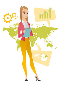 Business woman taking part in global business. Businesswoman standing on the background of map. Global business and globalization concept. Vector flat design illustration isolated on white background.