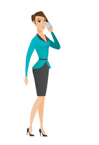 Business woman talking on a mobile phone. Business woman talking on cell phone. Full length of business woman talking on a mobile phone. Vector flat design illustration isolated on white background.