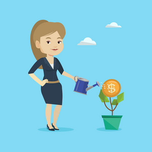 Business woman watering money flower. Caucasian woman investing in business project. Illustration of investment money in business. Investment concept. Vector flat design illustration. Square layout.