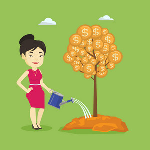 Business woman watering money tree. Businesswoman investing money in business project. Illustration of investment money in business. Investment concept. Vector flat design illustration. Square layout.