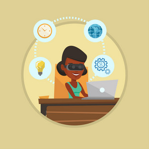Business woman wearing virtual reality headset and working on computer. Business woman using virtual reality device in office. Vector flat design illustration in the circle isolated on background.