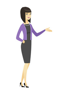 Business woman with arm out in welcoming gesture. Full length of welcoming asian business woman. Business woman doing welcome gesture. Vector flat design illustration isolated on white background.