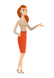 Business woman with arm out in welcoming gesture. Full length of welcoming caucasian business woman. Business woman doing welcome gesture. Vector flat design illustration isolated on white background.