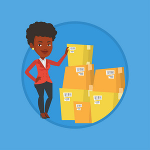 Business woman working in warehouse. Woman checking boxes in warehouse. Business woman preparing goods for dispatch in warehouse. Vector flat design illustration in the circle isolated on background.