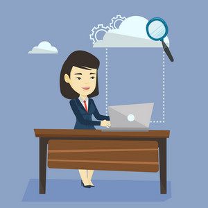 Business woman working on laptop under cloud. Asian business woman using cloud computing technologies. Cloud computing and business technology concept. Vector flat design illustration. Square layout