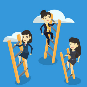 Business women climbing the ladders. Business women climbing on cloud. Business women climbing to success. Concept of success and competition in business. Vector flat design illustration Square layout