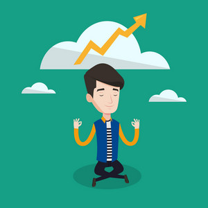 Businessman doing yoga and meditating in lotus pose. Businessman thinking about the growth graph. Man sitting with arrow pointing up above his head. Vector flat design illustration. Square layout.