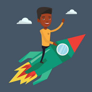 Businessman flying on the business start up rocket. An african-american businessman on business start up rocket waving. Business start up concept. Vector flat design illustration. Square layout.