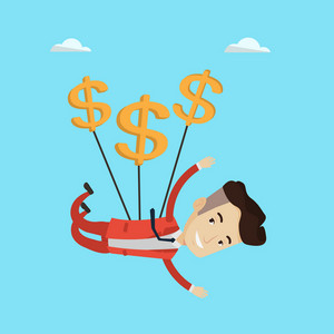 Businessman flying with dollar signs. Happy businessman gliding in the sky with dollars. Businessman using money as parachute. Business success concept. Vector flat design illustration. Square layout.