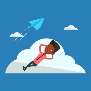 Businessman lying on a cloud and looking at flying paper plane. An african-american businessman relaxing on a cloud. Businessman resting on a cloud. Vector flat design illustration. Square layout.