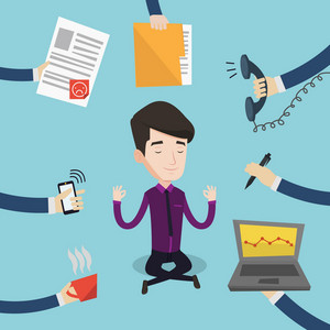 Businessman meditating in lotus position. Man surrounded by hands with office things. Businessman doing yoga. Multitasking and time management concept. Vector flat design illustration. Square layout.