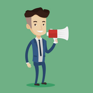 Businessman promoter holding megaphone. Social media marketing concept. Businessman speaking into a megaphone. Businessman advertising using megaphone. Vector flat design illustration. Square layout.