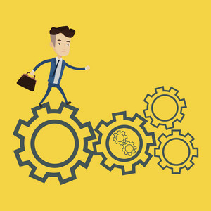 Businessman running on cogwheels. Happy businessman running to success. Businessman in a hurry. Concept of moving to success and stress in business. Vector flat design illustration. Square layout.