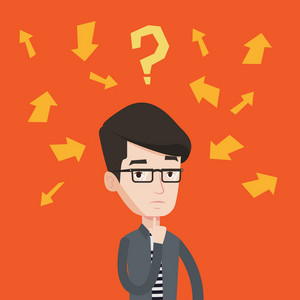 Businessman standing under question mark and arrows. Young businessman thinking. Thoughtful businessman surrounded by question mark and many arrows. Vector flat design illustration. Square layout.
