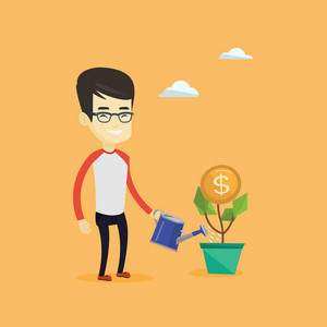 Businessman watering money flower. Asian businessman investing in business project. Illustration of investment money in business. Investment concept. Vector flat design illustration. Square layout.