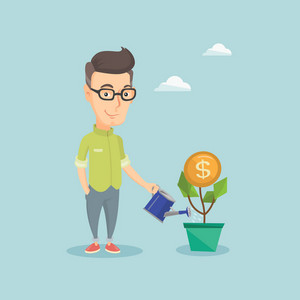 Businessman watering money flower. Caucasian businessman investing in business project. Illustration of investment money in business. Investment concept. Vector flat design illustration. Square layout