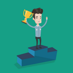 Businessman with winner cup standing on a pedestal with arms lifted in the air. Businessman celebrating his business award. Business award concept. Vector flat design illustration. Square layout.