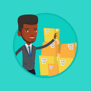 Businessman working in warehouse. Businessman checking boxes in warehouse. Business man in warehouse preparing goods for dispatch. Vector flat design illustration in the circle isolated on background.