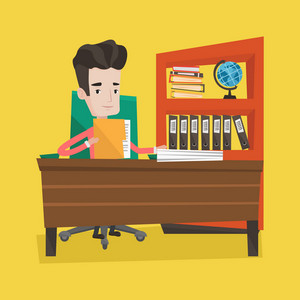 Businessman working with documents in office. Businessman sitting at the table and holding a folder with papers. Paperwork concept. Vector flat design illustration. Square layout.