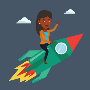 Businesswoman flying on the business start up rocket. An african-american businesswoman on business start up rocket waving. Business start up concept. Vector flat design illustration. Square layout.