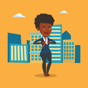 Businesswoman opening her jacket like superhero. African businesswoman superhero. Businesswoman taking off her jacket like superhero on city background. Vector flat design illustration. Square layout.