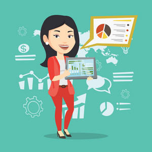 Businesswoman pointing at the charts on tablet computer screen. Young businesswoman presenting report with a digital tablet on the background of graphs. Vector flat design illustration. Square layout.