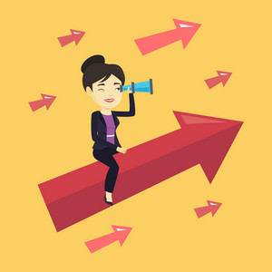 Businesswoman searching for opportunities. Asian businesswoman using spyglass for searching of business opportunities. Business opportunities concept. Vector flat design illustration. Square layout.