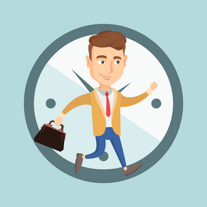 Busy caucasian business man running on the background with clock. Young busy business man in a hurry. Concept of deadline and busy time. Vector flat design illustration. Square layout.