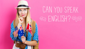 Can You Speak English text with young woman with flags of English speaking countries