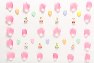 Candy hearts and rose petals aligned on a white background