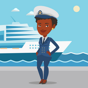 Captain standing on the background of sea and cruise ship. African ship captain in uniform on seacoast background. Ship captain standing at the port. Vector flat design illustration. Square layout.