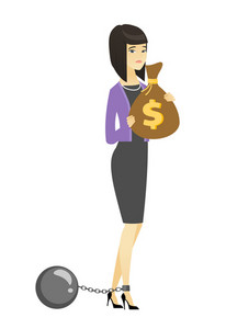 Captive taxpayer holding bag with taxes. Asian business woman taxpayer holding bag with dollar sign. Concept of tax time and taxpayer. Vector flat design illustration isolated on white background.