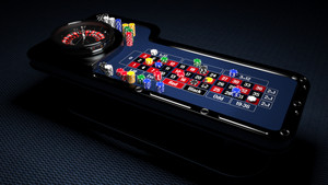 Casino Roulette Table with Chips