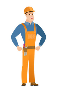 Caucasian angry builder screaming. Full length of angry builder clenching fists. Angry builder in hard hat shouting with raised fists. Vector flat design illustration isolated on white background.
