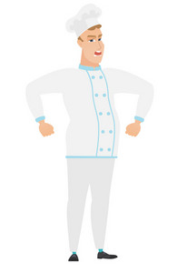 Caucasian angry chef cook in uniform screaming. Full length of angry chef cook clenching fists. Angry chef cook shouting with raised fists. Vector flat design illustration isolated on white background
