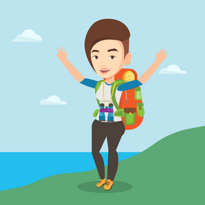 Caucasian backpacker with backpack and binoculars standing on the cliff and celebrating success. Happy backpacker with raised hands enjoying the scenery. Vector flat design illustration. Square layout