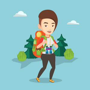 Caucasian backpacker with backpack and binoculars walking outdoor. Backpacker hiking in the forest during summer trip. Backpacker traveling in nature. Vector flat design illustration. Square layout.