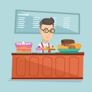 Caucasian  bakery worker offering pastry. Smiling  bakery worker standing behind the counter with cakes. Man working at the bakery. Vector flat design illustration. Square layout.