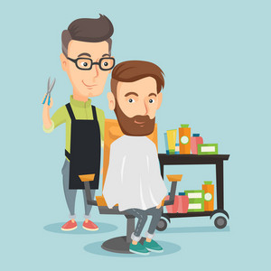 Caucasian barber cutting hair of young hipster man with beard at barbershop. Professional barber making haircut to a client with scissors at barbershop. Vector flat design illustration. Square layout.