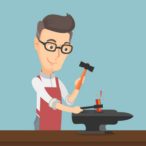 Caucasian blacksmith working metal with hammer on the anvil in the forge. Blacksmith at work in smithy. Blacksmith forging the molten metal on anvil. Vector flat design illustration. Square layout.