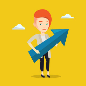 Caucasian bsiness woman thinking about the strategy of business growth. Woman holding big arrow representing business growth. Business growth concept. Vector flat design illustration. Square layout.