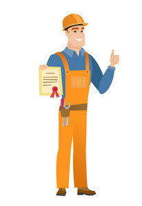 Caucasian builder holding a certificate. Full length of young builder with certificate. Builder showing certificate and giving thumb up. Vector flat design illustration isolated on white background.