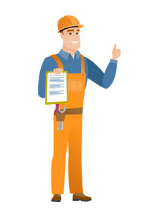 Caucasian builder holding clipboard and giving thumb up. Full length of builder with clipboard. Builder in hard hat showing clipboard. Vector flat design illustration isolated on white background.