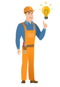 Caucasian builder in hard hat pointing at bright idea light bulb. Full length of builder having a creative idea. Successful idea concept. Vector flat design illustration isolated on white background.