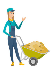 Caucasian builder standing near wheelbarrow full of sand. Full length of young female builder waving her hand near wheelbarrow with sand. Vector flat design illustration isolated on white background.
