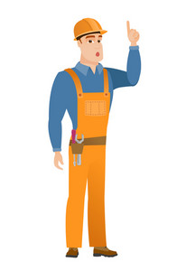 Caucasian builder with open mouth pointing finger up. Full length of young builder with open mouth came up with successful idea. Vector flat design illustration isolated on white background.