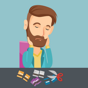 Caucasian business man cutting credit card. Business man sitting at the desk with cut credit card. Business man cutting credit card with scissors. Vector flat design illustration. Square layout.
