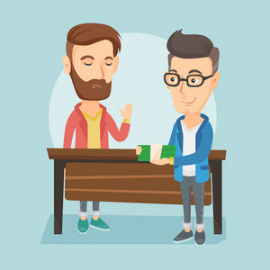 Caucasian business man giving a bribe. Uncorrupted business man refusing to take a bribe. Man rejecting to take bribe. Bribery, corruption concept. Vector flat design illustration. Square layout.