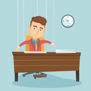 Caucasian business man hanging on strings like marionette. Business man marionette on ropes sitting in office. Emotionless marionette man working. Vector flat design illustration. Square layout.